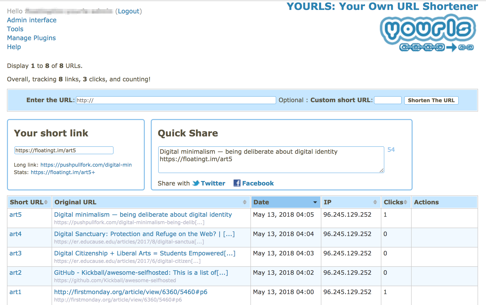 YOURLS administration area screen capture