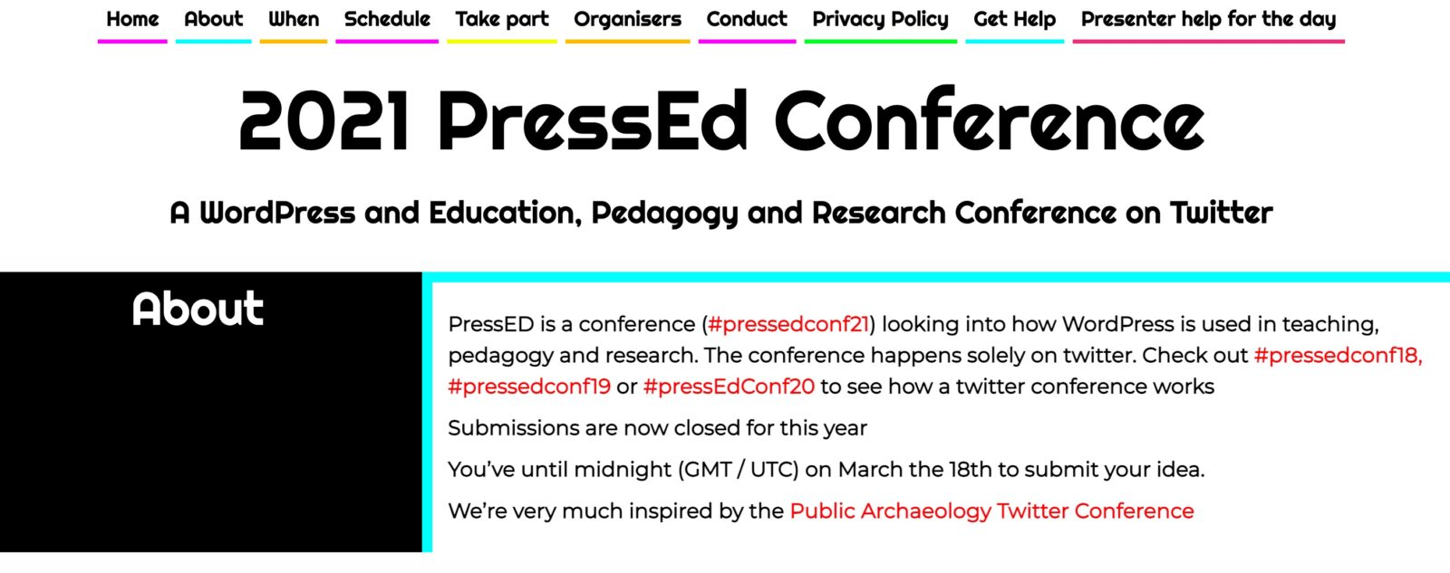 screen capture of the #PressEdConf21 Homepage